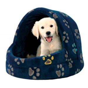 """Домик для собак """"Jimmy"""" с рисунком лапок Trixie синий/серый плюш 40х35х35 см."""