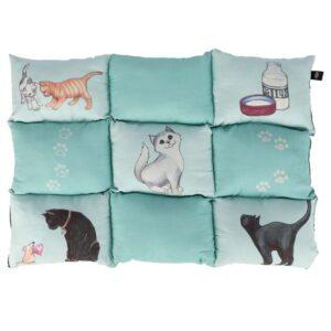 """Матрац для котов """"Patchwork"""" Trixie мятный с кошками, микрофибра 70х55 см."""