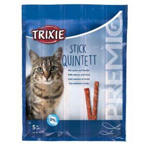 "Лакомство для кошек – ""PREMIO Quadro-Sticks"" лосось и форель Trixie 5 шт.х5 гр."
