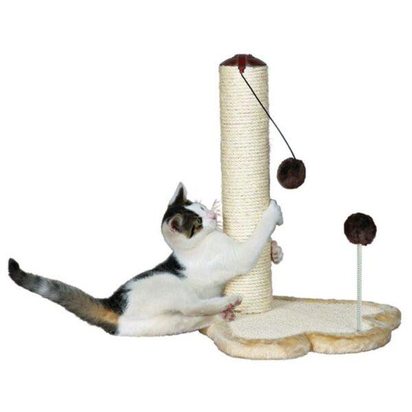 Дряпка-столбик с игрушкой шариком для кошек Trixie бежевая/коричневая 50 см.