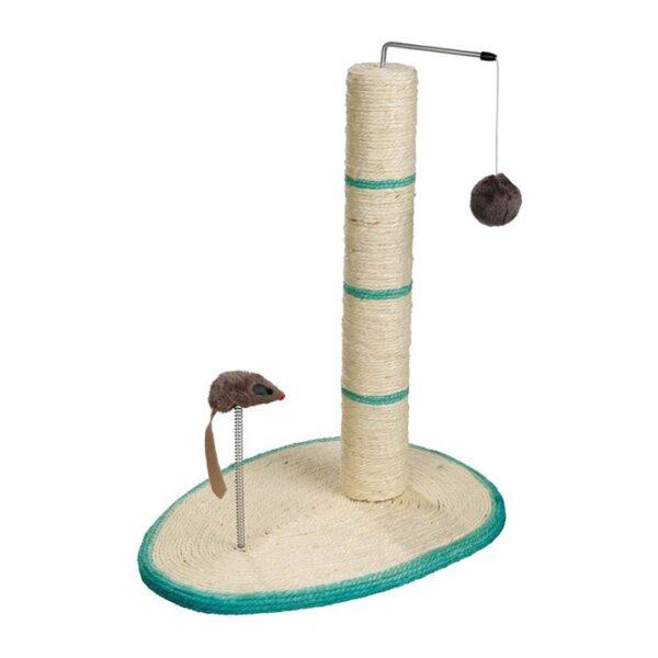 """Дряпка-столбик с мышкой на веревочке для кошек """"Scratch Me"""" Trixie бирюзовая, красная, чёрная 50 см."""