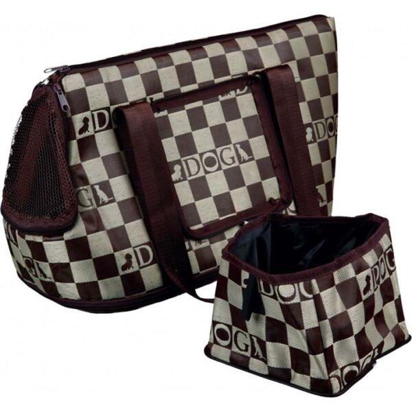 """Сумка-переноска для собак """"Chess"""" Trixie коричневая 21 x 25 x 45 см."""