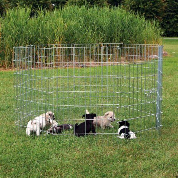 Вольер для собак и щенков Trixie металл d=1,54 м, h=91 см. (8 секций по 61 х 91 см.)