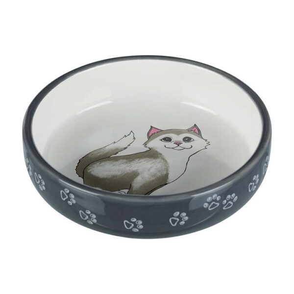 Миска для короткомордых пород кошек (перс) Trixie серая керамическая 0,3 л./15 см.