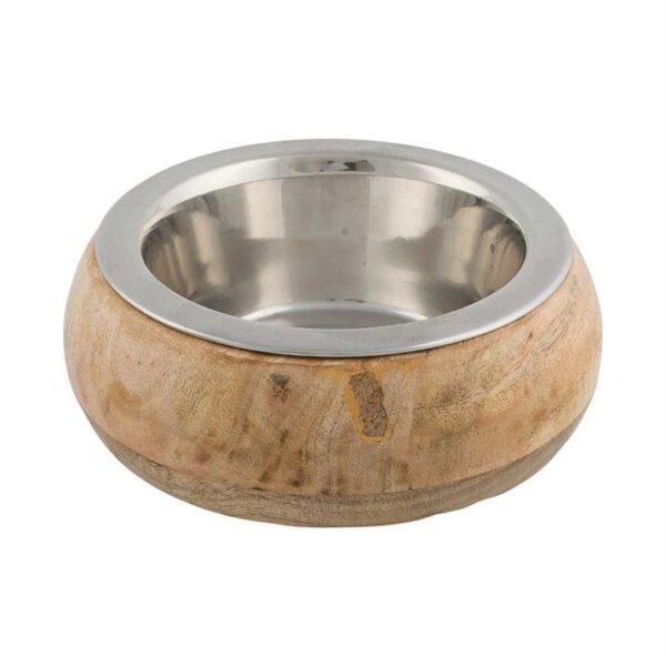 Миска для собак металлическая в деревянной рамке Trixie 450 мл.; 750 мл.; 1,4 л.