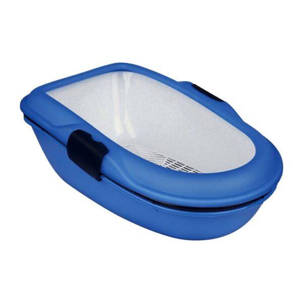 """Туалет для кошек с бортиком и сеткой """"Berto"""" Trixie серый, синий 39 x 22 x 59 см."""