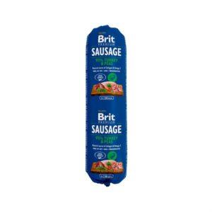 Консервы для собак с чувствительным пищеварением Brit Premium Dog Sausage TURKEY & PEAS колбаса с индейкой и горохом 800 гр.