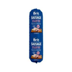 Консервы для собак Brit Premium Dog Sausage CHICKEN & WHITE FISH колбаса с курицей и белой рыбой 800 гр.