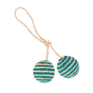 Игрушка для кошек - Два мячика с погремушкой на верёвке Trixie сизаль с мятой 4,5 см.
