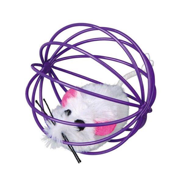 Игрушка для кошек Мышка в шарике Trixie плюш/металл 6 см.