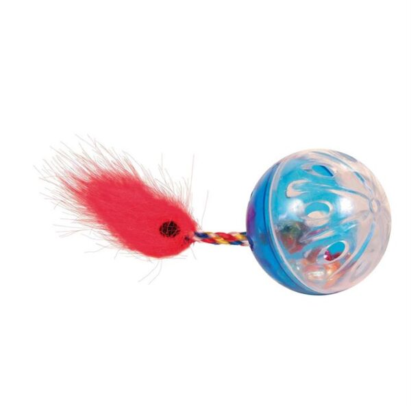 Игрушка для кошек Мячик с погремушкой и хвостом Trixie пластик (2 шт.) 4 см.