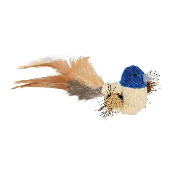 Игрушка для кошек Птичка с перьями Trixie плюш 8 см.