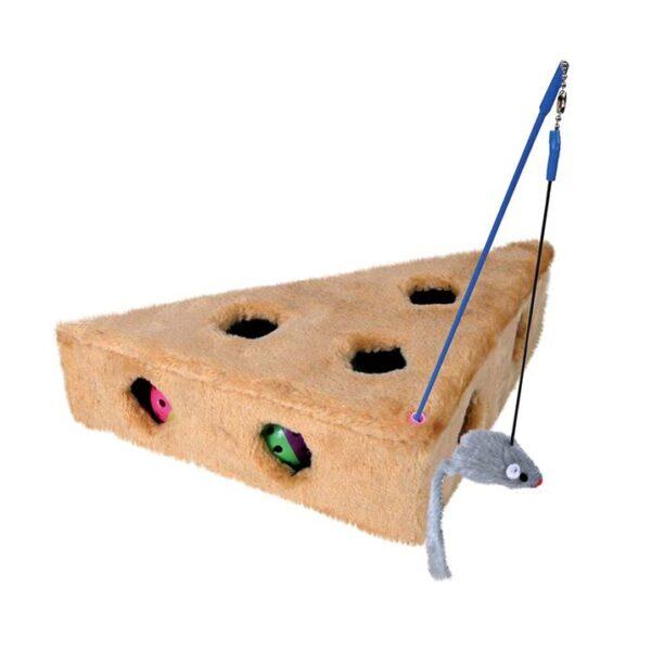 Игрушка для кошек Сыр с игрушками Trixie плюш 36x8x26/26 см.