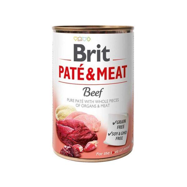 Консервы для собак Brit Pate & Meat BEEF с говядиной 400 гр.