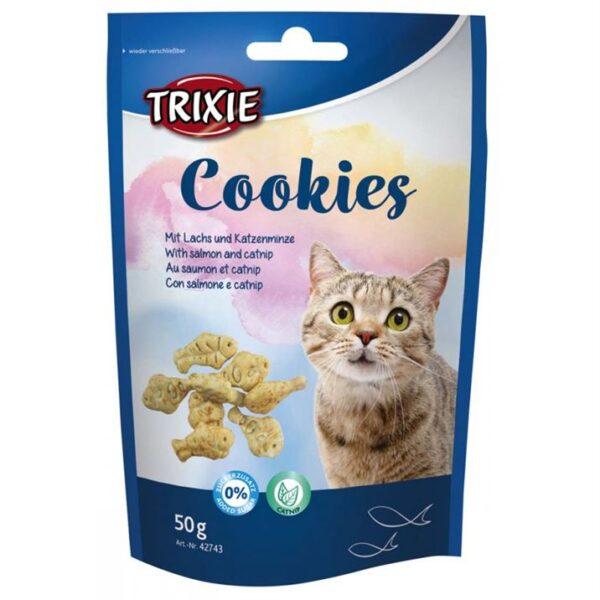 """Лакомство для кошек – Печенье """"Cookies"""" Trixie с лососем и кошачьей мятой 50 гр."""