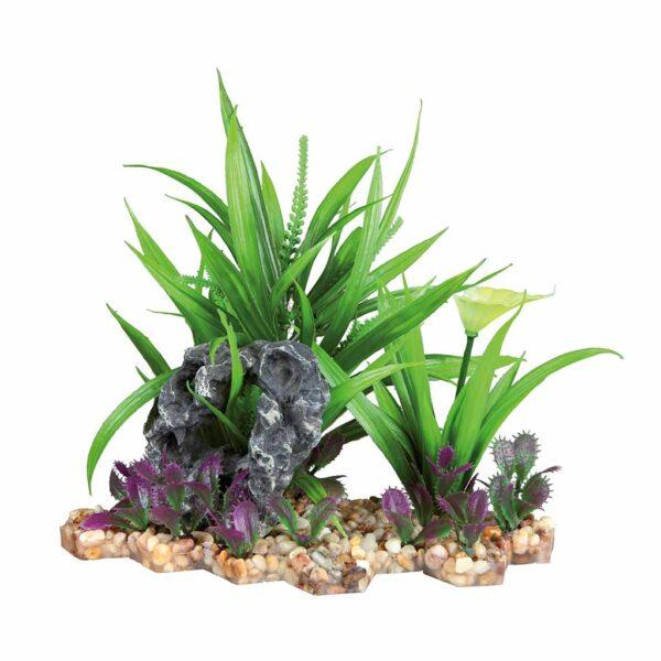 Декорация для аквариума – Пластиковое растение на каменной подставке Trixie 18 см.