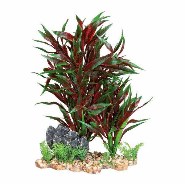 Декорация для аквариума – Пластиковое растение на каменной подставке Trixie 28 см. (красное)