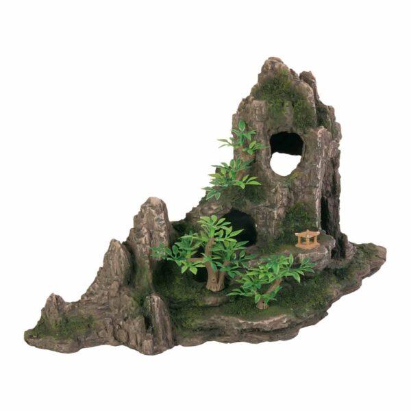 Декорация для аквариума – Скала с пещерами и растениями Trixie 27 см.