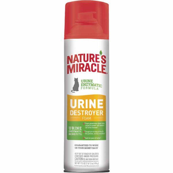 Уничтожитель пятен и запахов от мочи кошек, аэрозоль-пена 8 in 1 Nature`s Miracle 518 мл.